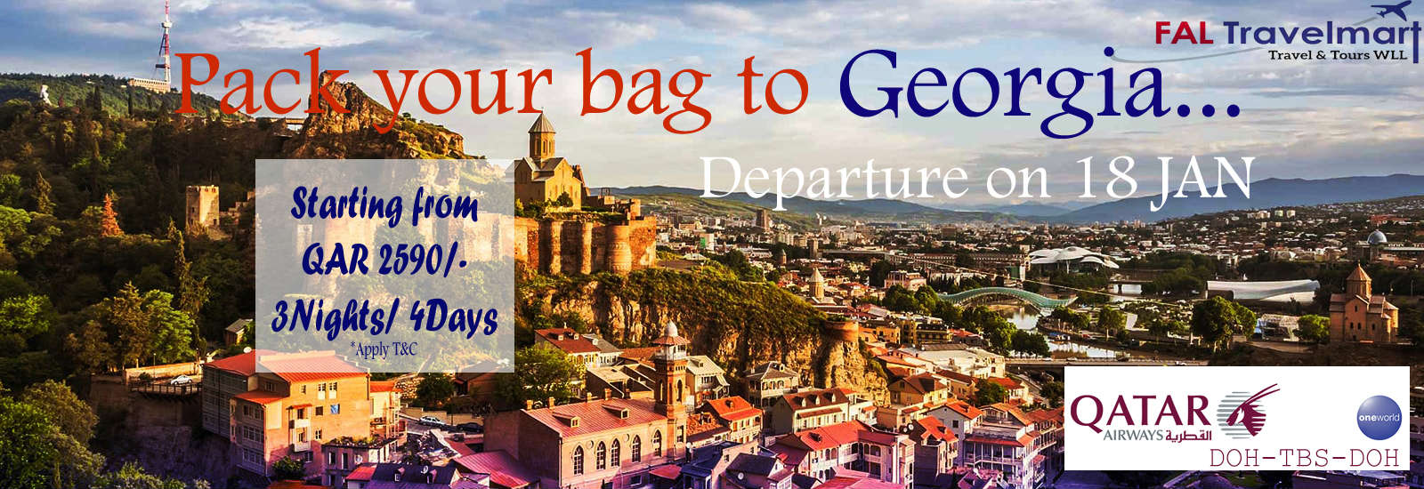 Georgia Package from Qatar by Fal Travel Mart 2590 Only